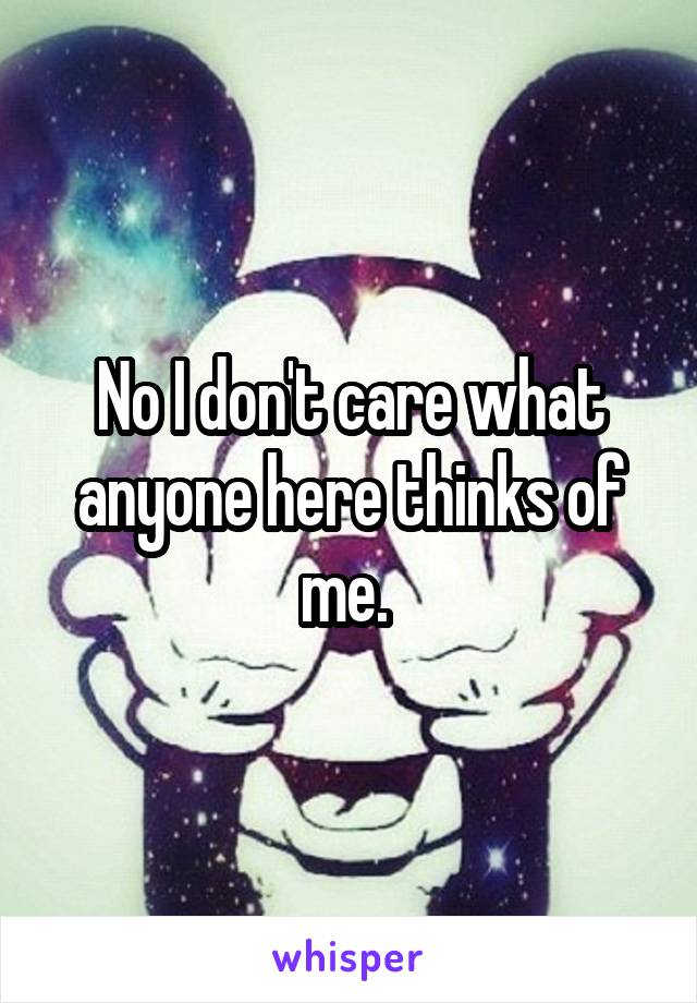 No I don't care what anyone here thinks of me.