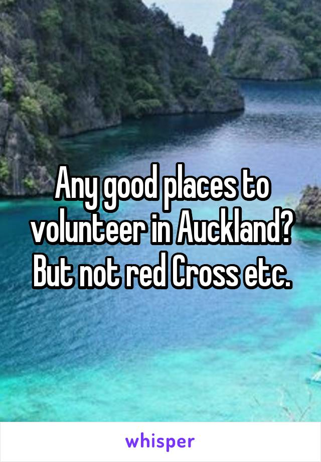 Any good places to volunteer in Auckland? But not red Cross etc.