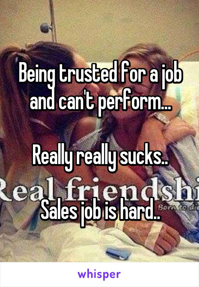 Being trusted for a job and can't perform...  Really really sucks..  Sales job is hard..