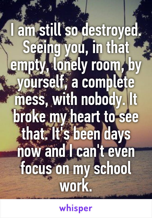I am still so destroyed. Seeing you, in that empty, lonely room, by yourself, a complete mess, with nobody. It broke my heart to see that. It's been days now and I can't even focus on my school work.