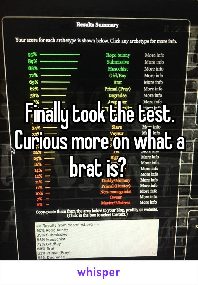 Finally took the test. Curious more on what a brat is?