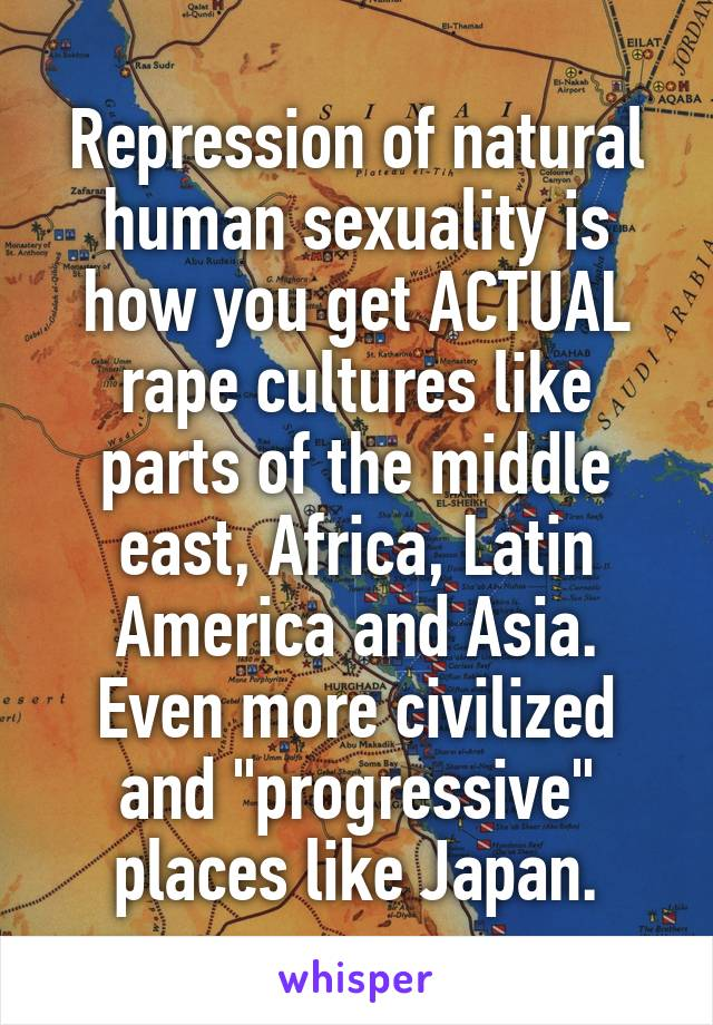 "Repression of natural human sexuality is how you get ACTUAL rape cultures like parts of the middle east, Africa, Latin America and Asia. Even more civilized and ""progressive"" places like Japan."