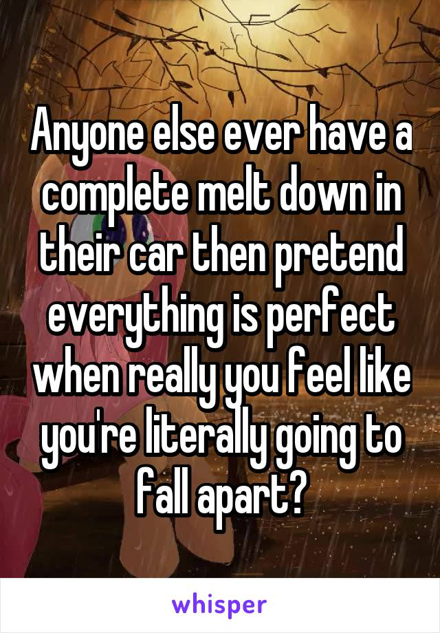Anyone else ever have a complete melt down in their car then pretend everything is perfect when really you feel like you're literally going to fall apart?