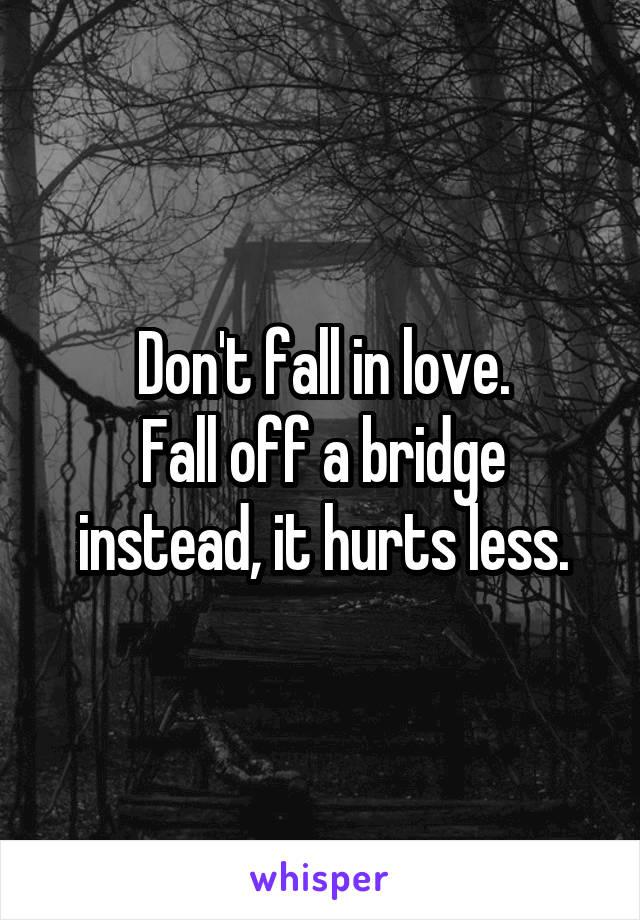 Don't fall in love. Fall off a bridge instead, it hurts less.
