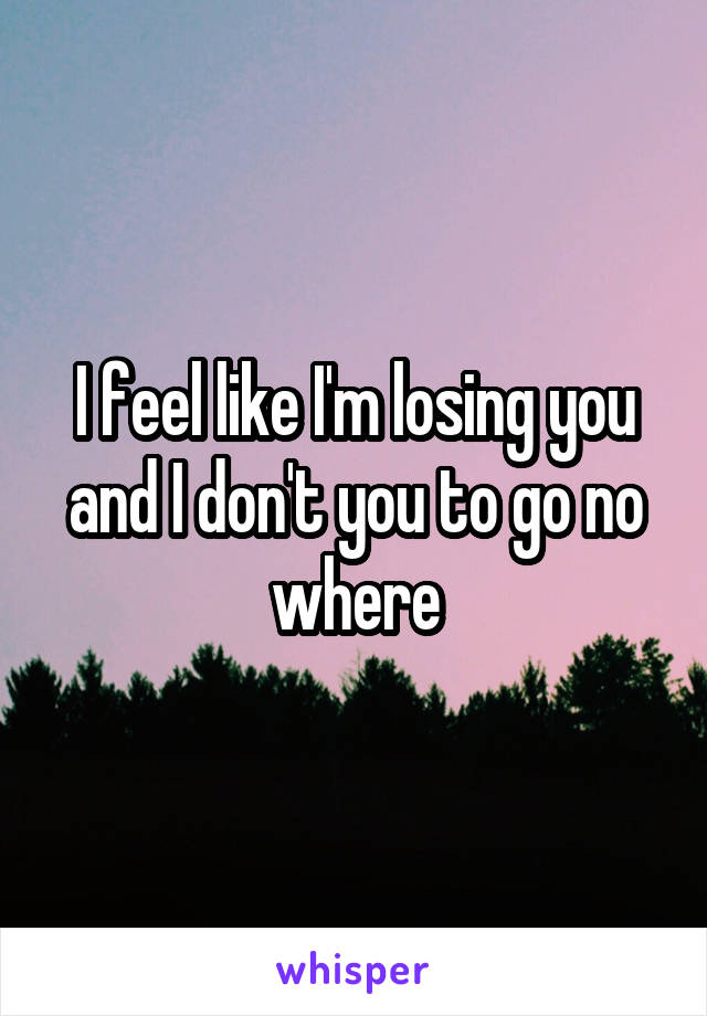 I feel like I'm losing you and I don't you to go no where