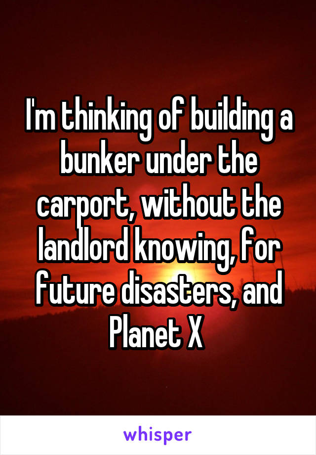 I'm thinking of building a bunker under the carport, without the landlord knowing, for future disasters, and Planet X