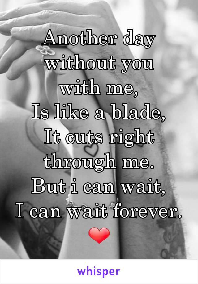 Another day without you with me, Is like a blade, It cuts right through me. But i can wait, I can wait forever. ❤