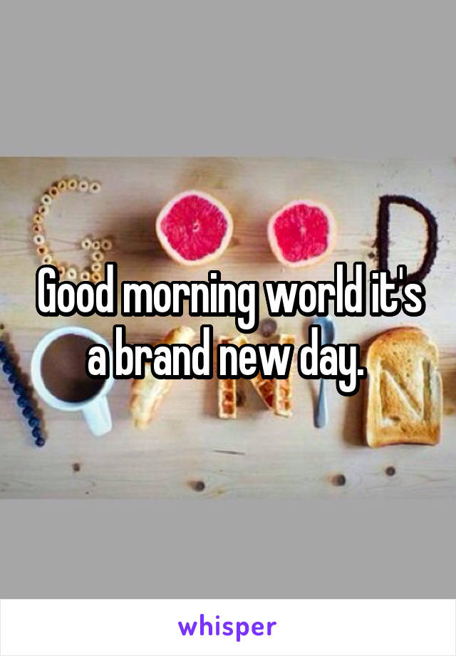 Good morning world it's a brand new day.
