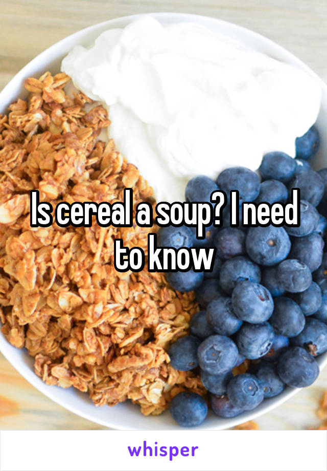 Is cereal a soup? I need to know