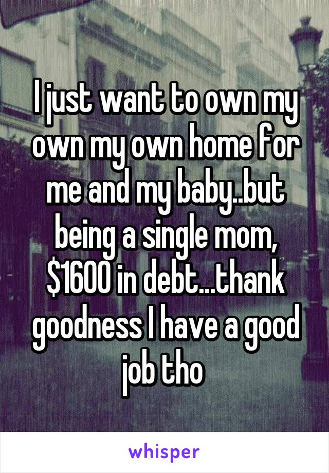 I just want to own my own my own home for me and my baby..but being a single mom, $1600 in debt...thank goodness I have a good job tho