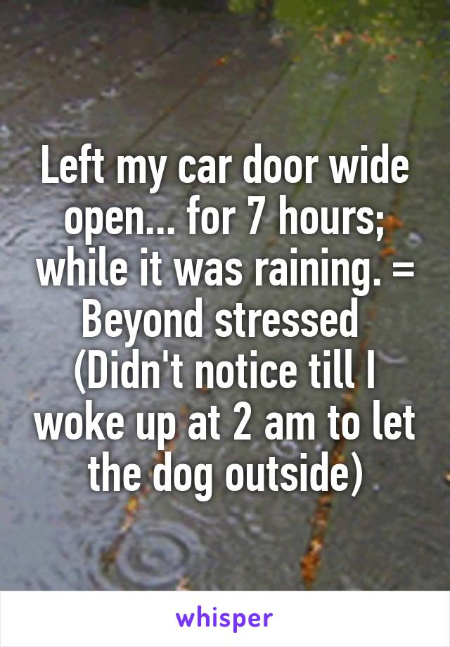 Left my car door wide open... for 7 hours; while it was raining. = Beyond stressed  (Didn't notice till I woke up at 2 am to let the dog outside)