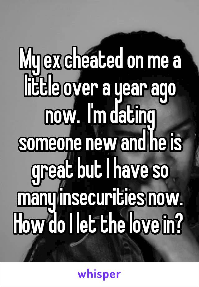 My ex cheated on me a little over a year ago now.  I'm dating someone new and he is great but I have so many insecurities now. How do I let the love in?