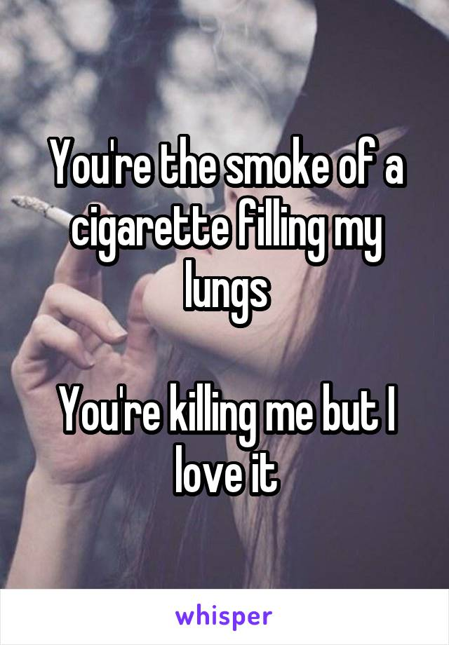 You're the smoke of a cigarette filling my lungs  You're killing me but I love it