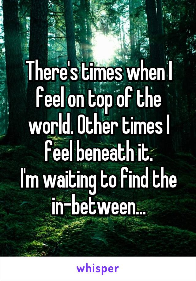 There's times when I feel on top of the world. Other times I feel beneath it. I'm waiting to find the in-between...