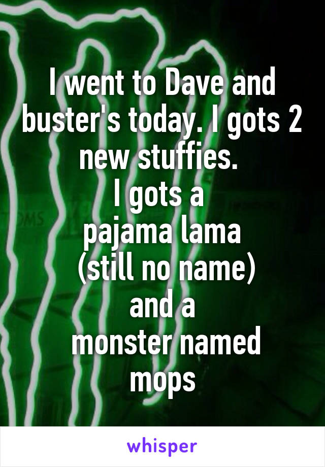 I went to Dave and buster's today. I gots 2 new stuffies.  I gots a  pajama lama  (still no name) and a  monster named mops