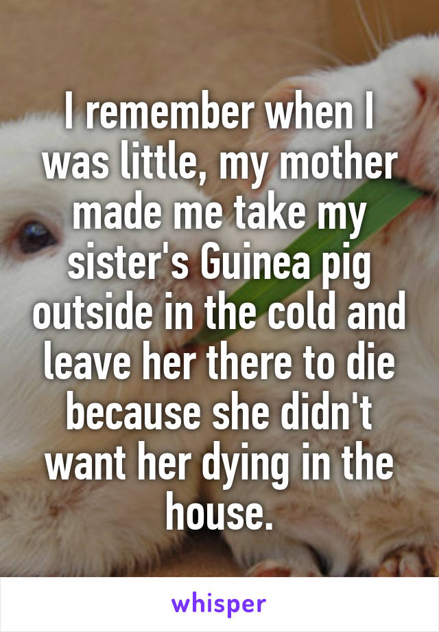 I remember when I was little, my mother made me take my sister's Guinea pig outside in the cold and leave her there to die because she didn't want her dying in the house.