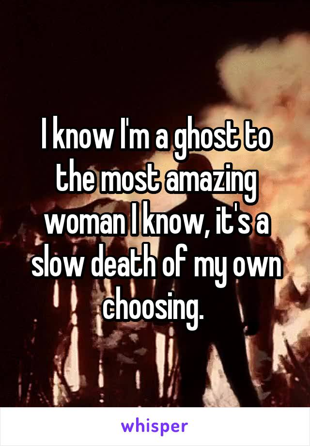 I know I'm a ghost to the most amazing woman I know, it's a slow death of my own choosing.