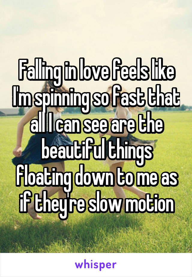 Falling in love feels like I'm spinning so fast that all I can see are the beautiful things floating down to me as if they're slow motion