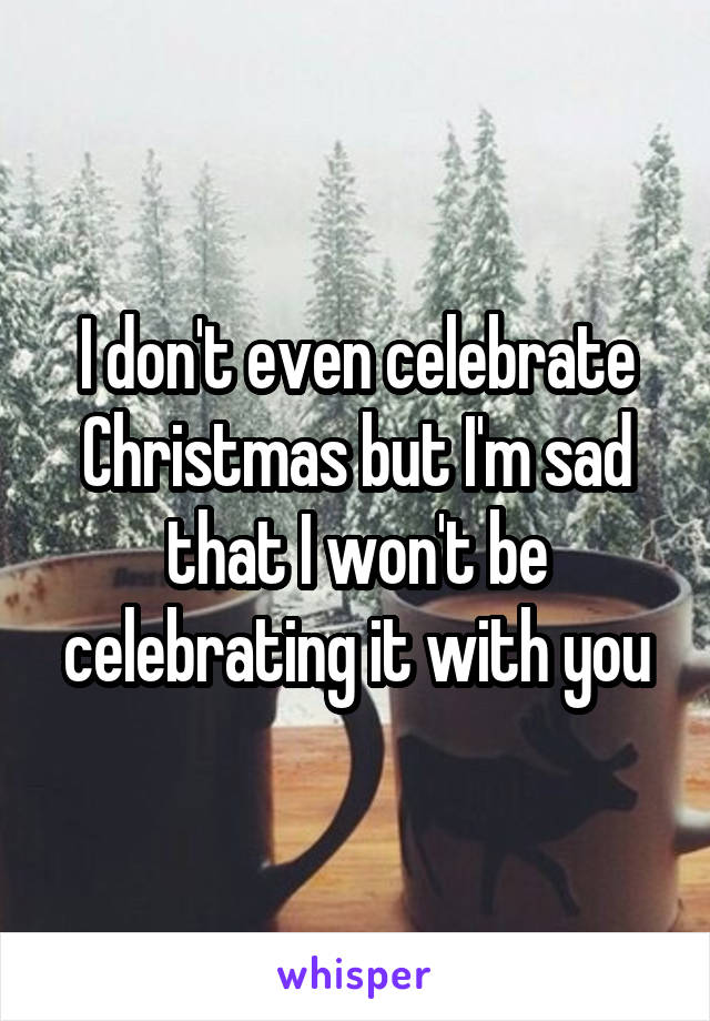 I don't even celebrate Christmas but I'm sad that I won't be celebrating it with you