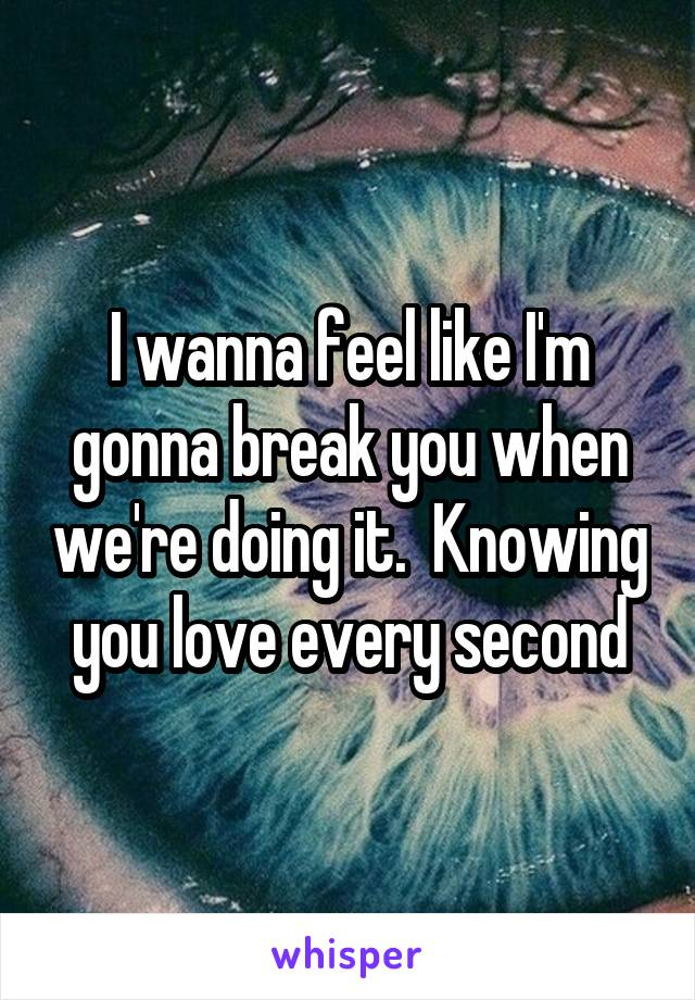 I wanna feel like I'm gonna break you when we're doing it.  Knowing you love every second