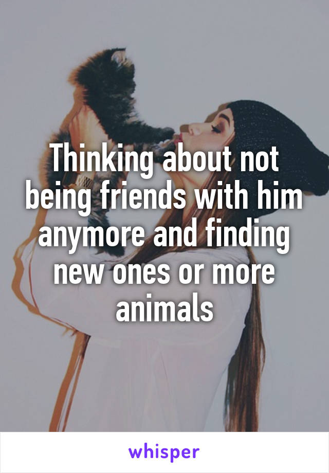 Thinking about not being friends with him anymore and finding new ones or more animals