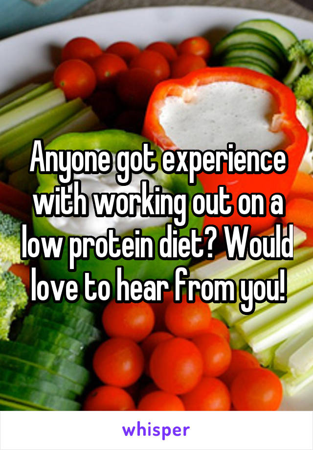 Anyone got experience with working out on a low protein diet? Would love to hear from you!