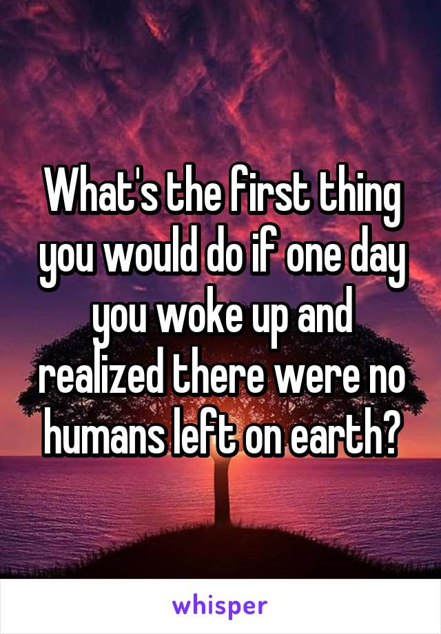 What's the first thing you would do if one day you woke up and realized there were no humans left on earth?
