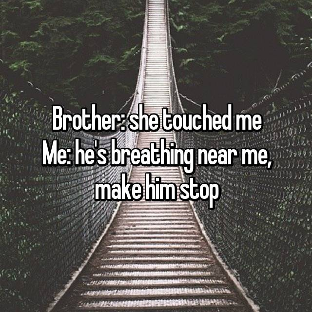 Brother: she touched me Me: he's breathing near me, make him stop