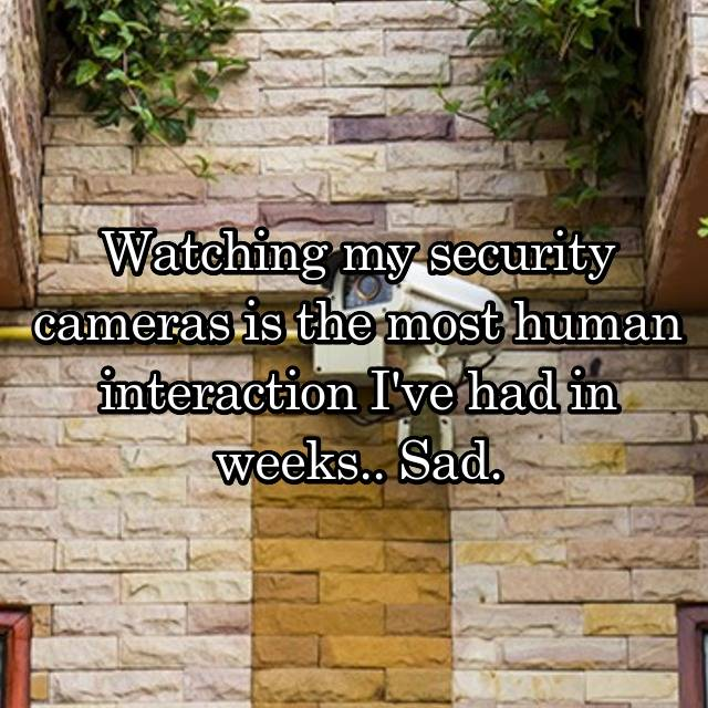 Watching my security cameras is the most human interaction I've had in weeks.. Sad.