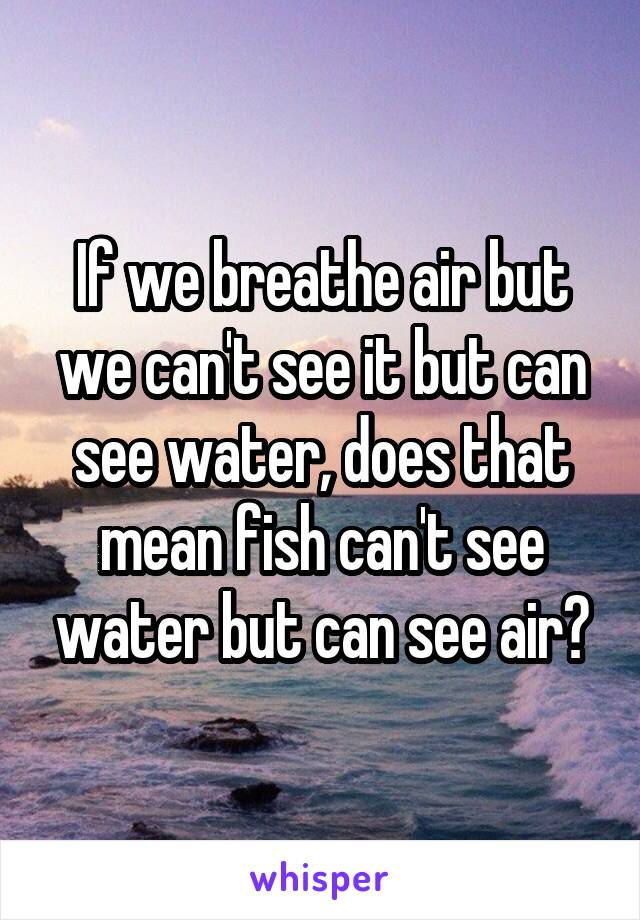 If we breathe air but we can 39 t see it but can see water for Can fish see water