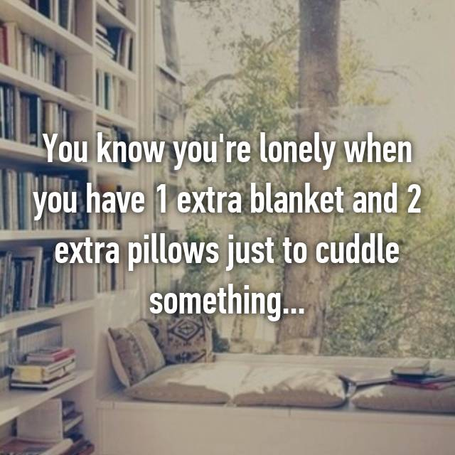 You know you're lonely when you have 1 extra blanket and 2 extra pillows just to cuddle something...