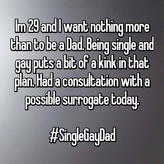 Im 29 and I want nothing more than to be a Dad. Being single and gay puts a bit of a kink in that plan. Had a consultation with a possible surrogate today.  #SingleGayDad