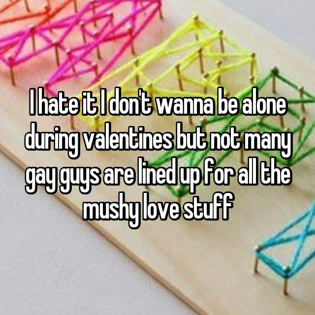 I hate it I don't wanna be alone during valentines but not many gay guys are lined up for all the mushy love stuff