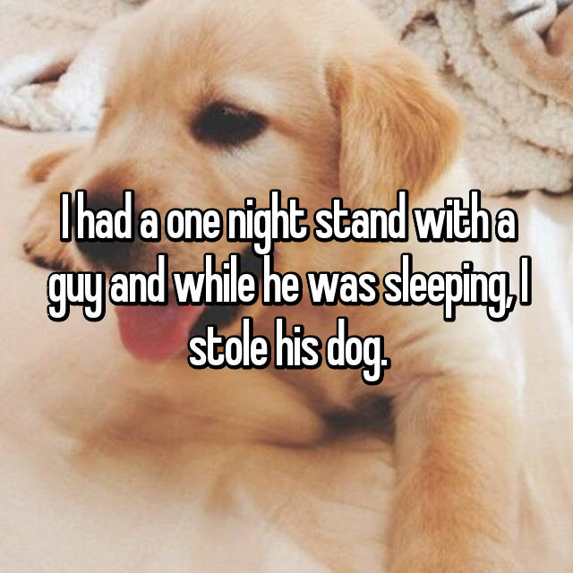 I had a one night stand with a guy and while he was sleeping, I stole his dog. 😂