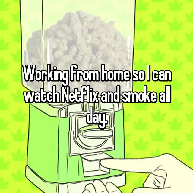 Working from home so I can watch Netflix and smoke all day.