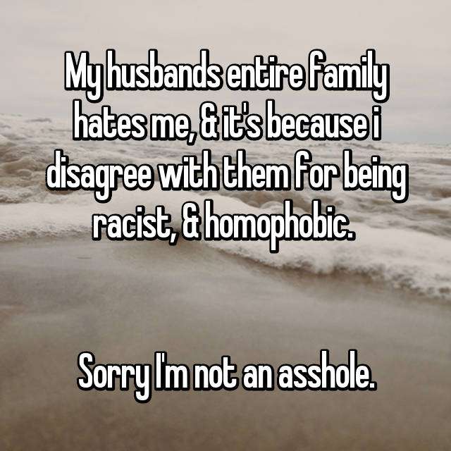 My husbands entire family hates me, & it's because i disagree with them for being racist, & homophobic.    Sorry I'm not an asshole.