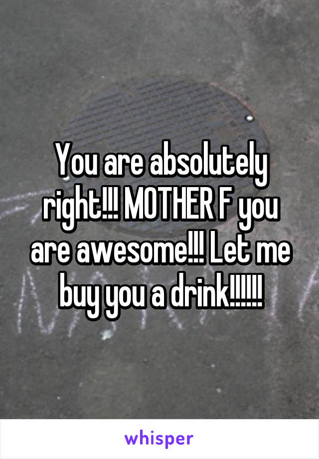 You are absolutely right!!! MOTHER F you are awesome!!! Let me buy you a drink!!!!!!