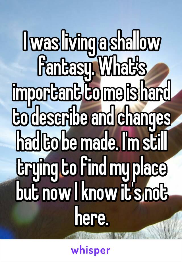 I was living a shallow fantasy. What's important to me is hard to describe and changes had to be made. I'm still trying to find my place but now I know it's not here.