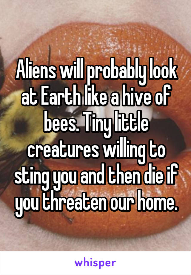 Aliens will probably look at Earth like a hive of bees. Tiny little creatures willing to sting you and then die if you threaten our home.