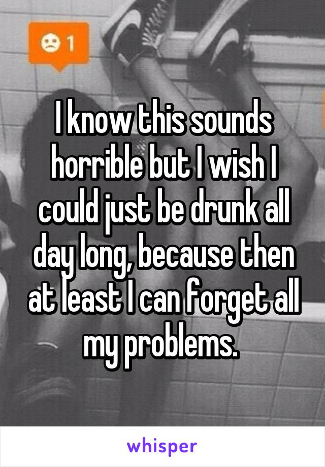 I know this sounds horrible but I wish I could just be drunk all day long, because then at least I can forget all my problems.