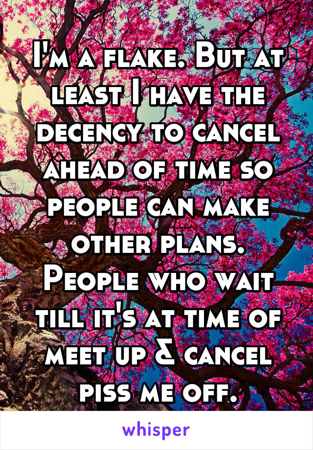 I'm a flake. But at least I have the decency to cancel ahead of time so people can make other plans. People who wait till it's at time of meet up & cancel piss me off.