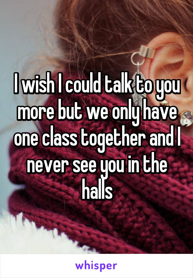 I wish I could talk to you more but we only have one class together and I never see you in the halls