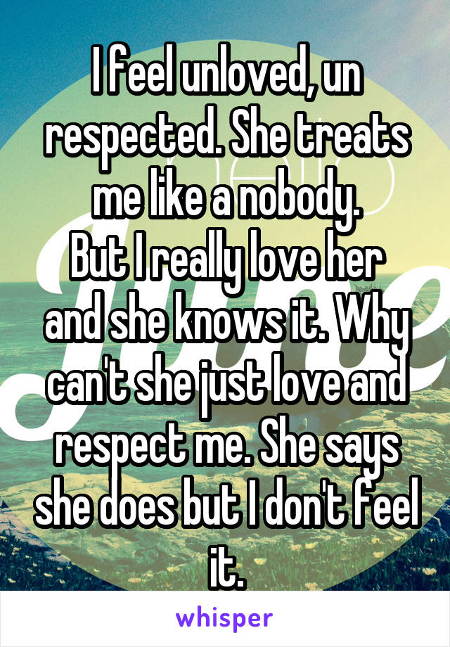 I feel unloved, un respected. She treats me like a nobody. But I really love her and she knows it. Why can't she just love and respect me. She says she does but I don't feel it.