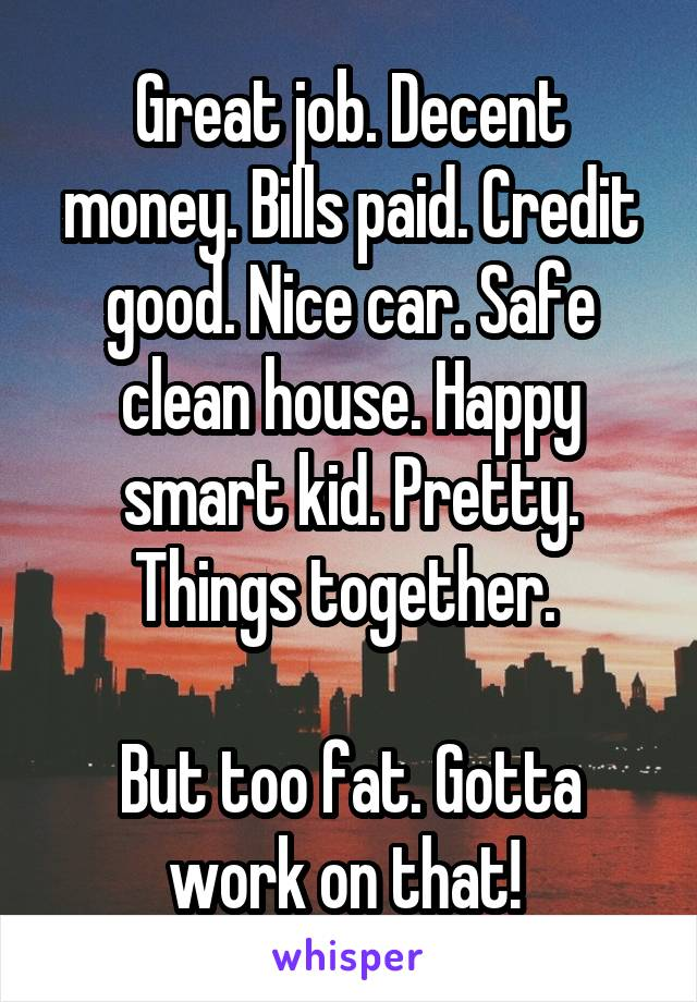 Great job. Decent money. Bills paid. Credit good. Nice car. Safe clean house. Happy smart kid. Pretty. Things together.   But too fat. Gotta work on that!