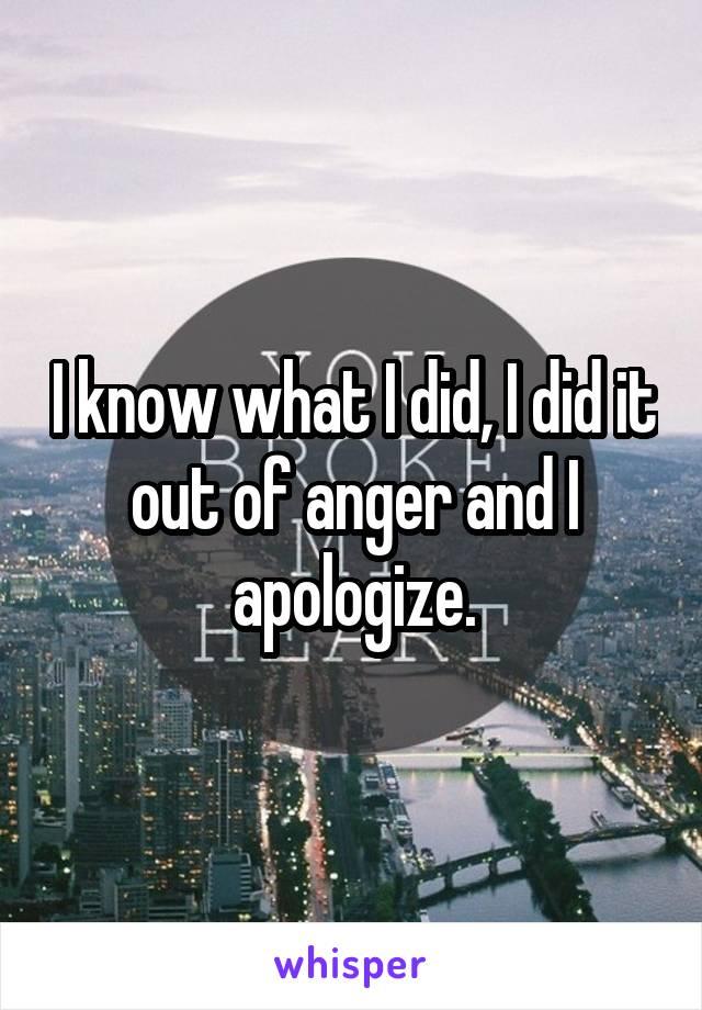 I know what I did, I did it out of anger and I apologize.