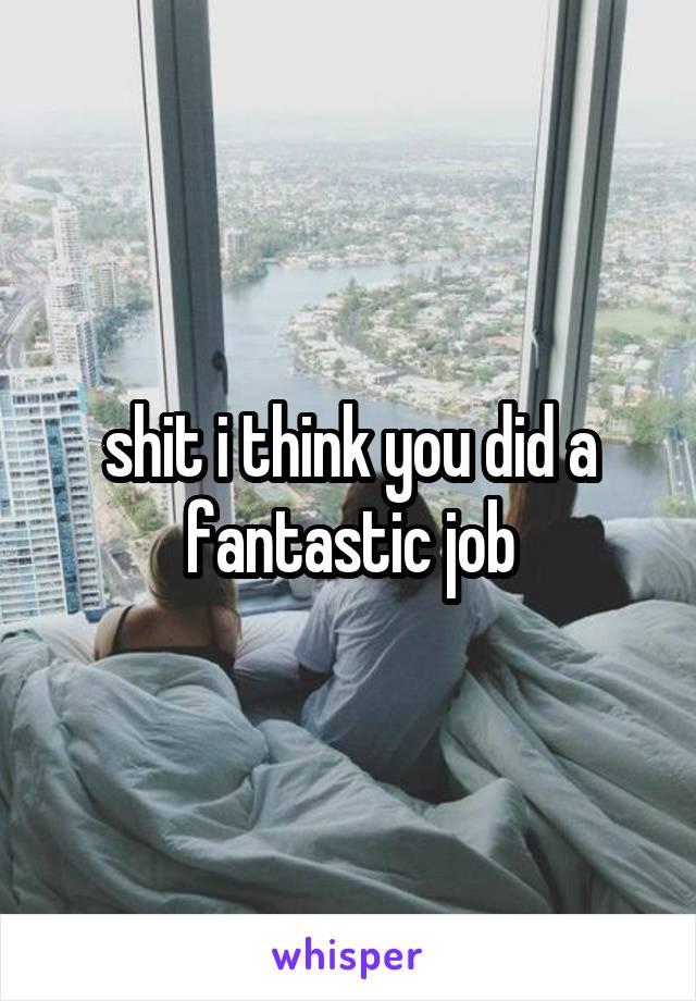 shit i think you did a fantastic job