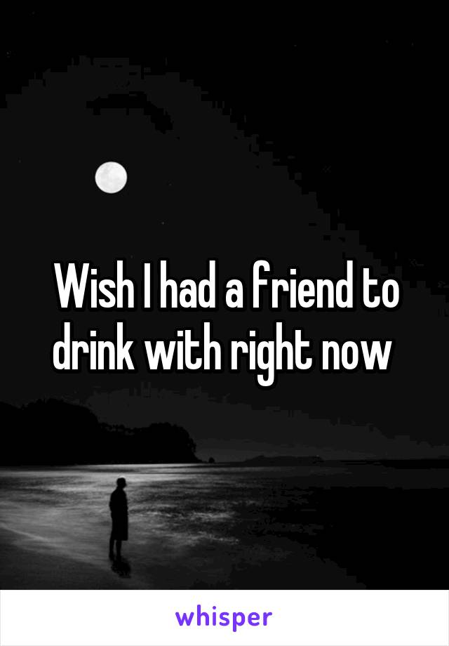 Wish I had a friend to drink with right now