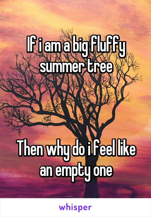 If i am a big fluffy summer tree    Then why do i feel like an empty one