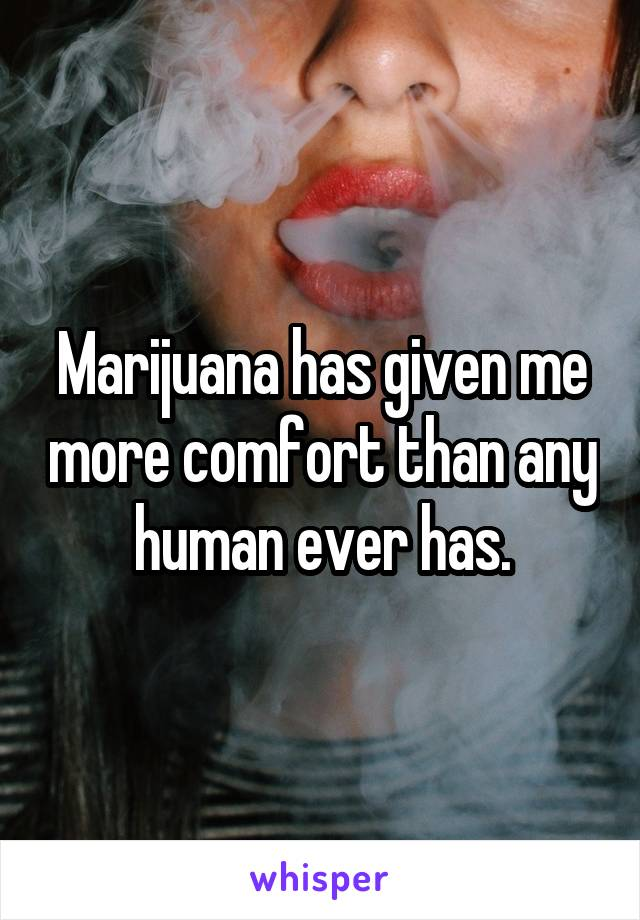 Marijuana has given me more comfort than any human ever has.