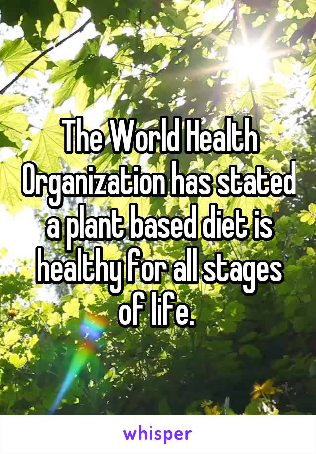 who plant based diet world helath organization